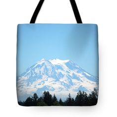 "Rainier Reigns Tote Bag by Flamingo Graphix John Ellis (18"" x 18"").  The tote bag is machine washable, available in three different sizes, and includes a black strap for easy carrying on your shoulder.  All totes are available for worldwide shipping and include a money-back guarantee."