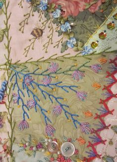"""I my first """"crazy"""" post. Feather stitch is possibly my favourite stitch. It is so versatile , easy to embellish and creates movement on a..."""
