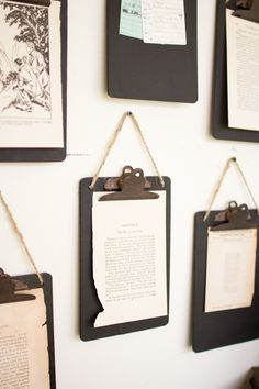 "Display photos, old letters and art in a unique and creative way with our Clipboard Set. These clipboards are black and come as a set of 6. They feature a jute hanger and a rustic clip. Measure: 6"" x"