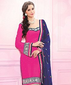 Lend that much coveted grace to your outfit with this pretty suit! In one swift move  these exquisite piece can instil a dash of feminity coupled with ethnicity and beauty!BRAND: BrijrajCATEGORY: Unstitched Suit with DupattaARTICLECOLOURMATERIALLENGTHTopPinkWrinkle Georgette2.75 metersBottomDark BluePoly Crepe2.25 metersDupattaDark BlueChiffon2.30 metersWe would always want to send you what we showcase but there might be a slight variation in color due to photographic effects.  Also note…