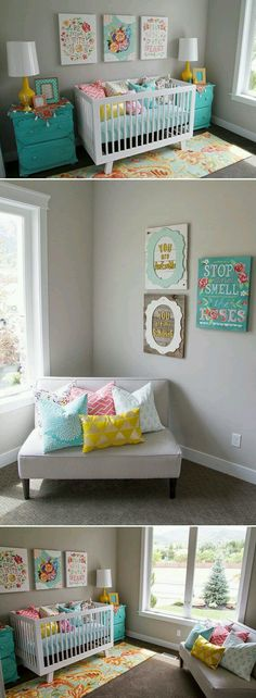 My baby room inspiration.  I want the same color walls and 1 accent wall in teal.    Where do you all think I can find similar pictures?