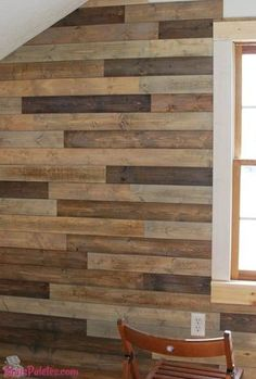 DIY: How to Install and Trim Out a Pallet Wall - info on staining, prepping and hanging pallet wood - Pallet Furniture DIY Diy Pallet Wall, Pallet Walls, Diy Pallet Furniture, Furniture Design, Palet Wood Wall, Pallet Accent Wall, Bathroom Furniture, Furniture Projects, Bathroom Ideas