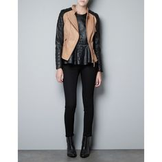 Zara Leather Biker Jacket With Zips ($100) ❤ liked on Polyvore