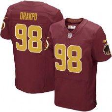 Elite Mens Nike Washington Redskins #98 Brian Orakpo Number Alternate 80TH Anniversary Red_GoldNFL Jersey$129.99