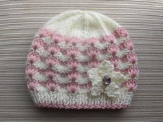 Number 84  Knitting Pattern White and Pink Hat in Sizes  12 months and 2-4 years. $2.99, via Etsy.