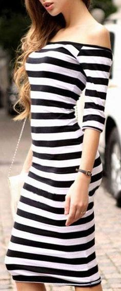 Stripe Off Shoulder Midi Dress