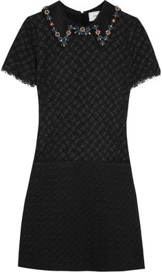 Erdem Paula Crystal-Embellished Corded Lace and Cloqué Mini Dress