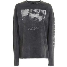 Kurt Cobain Long Sleeve T-Shirt by and Finally (759.510 IDR) ❤ liked on Polyvore featuring tops, t-shirts, graphic print tees, long sleeve tops, graphic design t shirts, long sleeve graphic tees and grunge t shirts