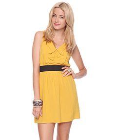 yellow bridesmaids dress but brown belt