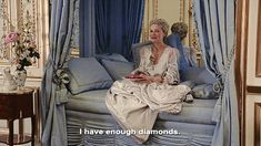 Gif. Marie Antoinette movie still with Kirsten Dunst. Sofia Coppola 2006, France, French, Versailles, Let them eat Cake, Paris. I have enough diamonds.