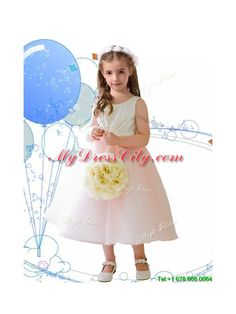 Beautiful Scoop Baby Pink Tulle Flower Girl Dress with Sashes