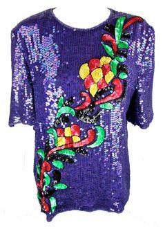 I found this Vintage 1980'S Purple Sequin Frank Usher Top on www.peekaboovintage.com