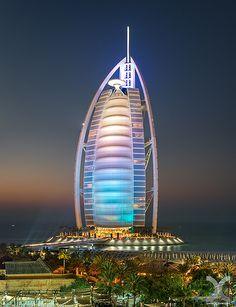 Night Lights of Burj Al Arab ~ Dubai, United Arab Emirates