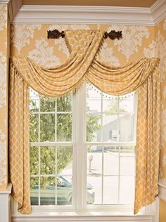 37 Ideas for bathroom yellow window treatments Curtains And Draperies, Window Drapes, Window Coverings, Drapery, Burlap Curtains, Window Seats, Valances, Small Master Bath, Rideaux Design