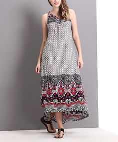 Another great find on #zulily! Black & Red Fleur-de-Lis Hi-Low Maxi Dress by Reborn Collection #zulilyfinds