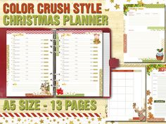 Organize your Christmas holidays, shopping and events with this cozy and joyful printable planner! Size: cm 21 x 14,8 - 5,8 x 8,3 inches  2 PDF to