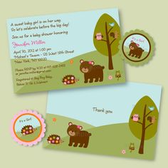 Forest Friends Forest Animal Girls Printable Baby Shower Party Pack. $20.00, via Etsy.
