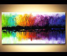 Acrílico paisaje contemporáneo abstracto pintura pesada