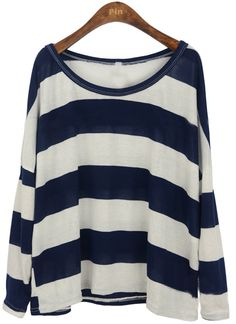Navy+ White thick Stripes