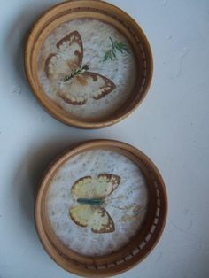 Set of Two Pressed Butterfly Bamboo Coasters by WylieOwlVintage, $5.00