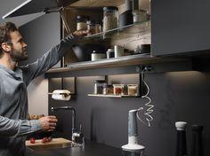 Muebles altos de Cocina SANTOS #Cociart #cocinassantos #line #negroseda #cocinasnegras #antihuellas #cocinaabiertaalsalón #diseñodecocinas #interiordesign #interiorismo Interiores Design, Track Lighting, Desk, Ceiling Lights, Instagram, Kitchen, Furniture, Home Decor, Madrid