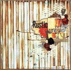 Belinda's rustic layout at My Happy Scrap Space