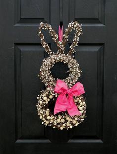Bunny Wreath - Easter Wreath - Spring Wreath by marguerite Diy Spring Wreath, Diy Wreath, Felt Wreath, Outdoor Wreaths, Easter Wreaths, Easter Crafts, Easter Decor, Spring Flowers, Holiday Fun