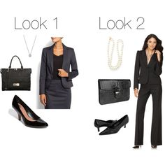 For companies that have a business or business casual dress code, it's a good idea to keep your look basic and conservative for the first interview. #career #interview #fashion