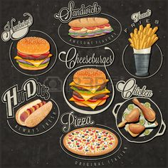 set of calligraphic titles and symbols for foods. pizza sandwich hot dog french fries hamburger cheeseburger and drumstick realistic illustrations. Fast Food Design, Food Menu Design, Restaurant Design, Menu Restaurant, Steak Frites, Pizza Logo, Burger Menu, Pizzeria, Café Bar