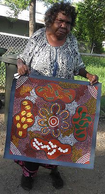 Australian aboriginal art by famous artist #brenda #dixon - 62x61cm #seven sister, View more on the LINK: http://www.zeppy.io/product/gb/2/172010410436/