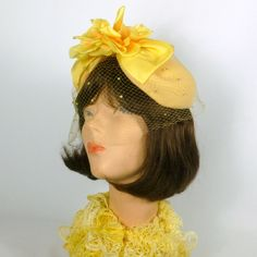 1950s Style Yellow Fascinator Hat -Handmade-Vintage French Veiling & Vintage Flower Accents- Mother of the Bride, Church, Cocktail, Costume by NouveauHatsbySharon on Etsy
