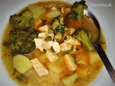 Brokolicová polievka s údeným tofu - Recept Tofu, Meat, Chicken, Cubs