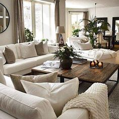 Living Room Decor Cozy, New Living Room, Living Room Interior, Decorating Living Rooms, Table For Living Room, Neutral Living Rooms, Dining Rooms, Cozy Living Room Warm, Winter Living Room