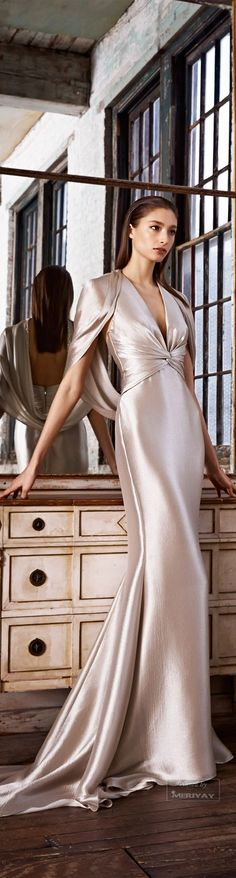 Pamella Roland ~ Luxurious Evening Gown, Silver