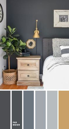 Grey bedroom with gold accents Bedroom color scheme ideas will help you to add harmonious shades to your home which give variety and feelings of calm. From beautiful wall colors. Grey Colour Scheme Bedroom, Bedroom Wall Colors, Room Ideas Bedroom, Home Decor Bedroom, Accent Wall Colors, Cozy Bedroom, Gray Accent Walls, Colour Schemes Grey, Wall Paint Colours