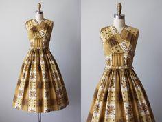 50s Dress - Vintage 1950s Dress - Warm Yellow Floral and Plaid Bust Shelf Cotton Full Skirt Sundress M L - Tawny Corners Dress by jumblelaya on Etsy