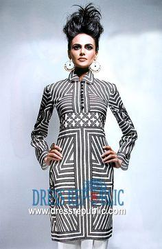 Black n White Bonita, Product code: DR1140, by www.dressrepublic.com - Keywords: Kurti Tops UK, Kurta Tops, Kurtis UK, Casual Kurti Collection Online Shop