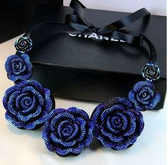 New jewelry european fashion punk Blue rose ribbon Resin Flower Necklace royal false collar bow short collars wedding gift women #Affiliate