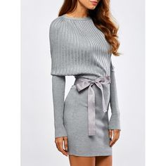 Batwing Knit Dress With Bowknot Sash, LIGHT GRAY, M in Sweater Dresses | DressLily.com
