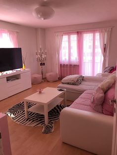 Sweet Pink Living Room Ideas Apartments Girly - The living room is a significant room for our home. The reason, the living room is used as the room whe Living Room Decor Set, Living Room Modern, Living Room Designs, Apartment Couch, Apartment Interior, Colourful Living Room, Pink Room, House Rooms, Dream Rooms