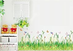 BestGrew® Pastoral Style Grass and Butterflies Wall Decals, Living Room Bedroom Baseboard Removable Wall Stickers Murals