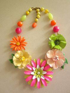 Vintage Enamel Flower Necklace, Flower Power by rebecca3030
