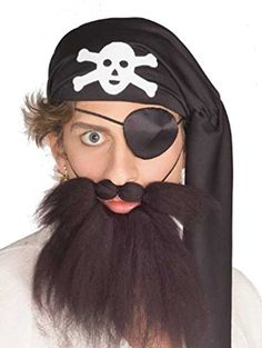 Adult Brown Pirate Costume Beard and Moustache Set * Click image to review more details.
