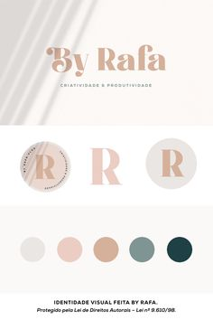 Identidade Visual para canal no YouTube com tema de Criatividade e Produtividade; projeto feito por mim mesma, Rafa, para o meu canal. | Feminine branding identity for YouTube channel with neutral color palette; modern and feminine branding board; #identidadevisual #brandingboard #neutralcolorpalette Wedding Color Schemes, Wedding Colors, Banners, Web Design Logo, 98, Marketing Digital, House Ideas, Wedding Inspiration, Sketches