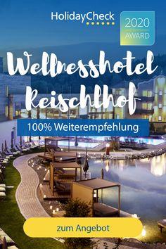 Erlebe deinen Wellness-Traum in diesem Bestseller-Hotel, Wellnesshotel Reischlhof, in Bayern. In diesem 4,5-Sterne-Hotel finden Wellnessurlauber alles was das Herz begehrt. Das Hotel bietet den besten Service und totale Entspannung. Auf 5000qm wartet eine komplett neue Wasserwelt mit Natur-Badesee, Relax Hot-Pool, Sky-Sole-Whirlpool auf der Dachterrasse, traumhaftes Essen & viele Saunen. Ausgezeichnet mit dem HolidayCheck-Award 2020 und 100%iger Weiterempfehlung.  #wellness #bayern… Hotels, Das Hotel, Best Sellers, Bavaria Germany