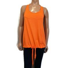 Adidas Stella McCartney Racerback Tank Top Womens Medium Orange Drawstring Hem #adidas #TankTop #Athleisure Athleisure, Stella Mccartney Adidas, Orange, Racerback Tank Top, Blouses, Tank Tops, Medium, Shirts, Women