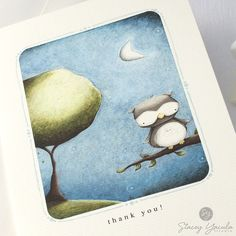 The 10.7 cm x 15.2 cm card features my illustration OWL BY MOONLIGHT!. The card sentiment reads Thank You!. ***If you prefer NO sentiment please leave your preference in the note to seller while checking out. ………………………………………………………………………………………………………… The interior of the card is left blank so you may write a personal message. A envelope is included. ………………………………………………………………………………………………………… ****PLEASE NOTE**** if you are interested in ordering more than one card please follow the links...