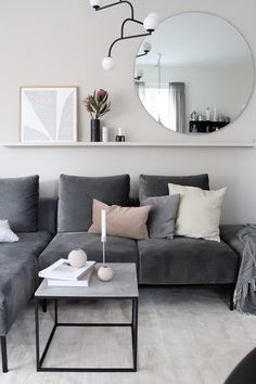 Shelf behind couch idea Apartment Living Room Couch Idea shelf Living Room Ideas 2019, Big Living Rooms, Living Room Carpet, Living Room Grey, Living Room Designs, Living Room Furniture, Small Living, Living Room Decor Behind Couch, Grey Couch Decor