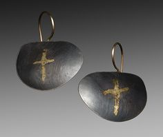 Cross Earrings by Peg Fetter: Gold & Silver Earrings available at www.artfulhome.com