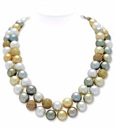 Two Multi-Coloured South Sea Cultured Pearl and Diamond Necklaces  Comprising sixty-nine cultured pearls of 11.0-12.5 mm, in shades of grey, golden and white, accented with pave-set diamond and brown diamond beads totalling approximately 12.50 carats, mounted in 18k gold, length 19 1/4 ins, and 17 3/4 ins, can be worn singly, double as a nested combination or joined as one long necklace, invisible clasps